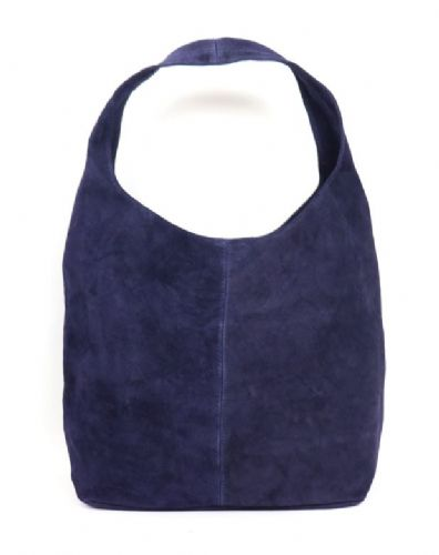 Suede Hobo Shoulder Bag - Navy